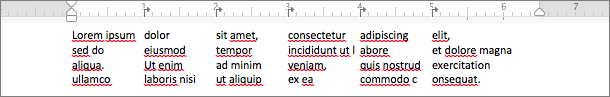 Example of using tabs to create columns