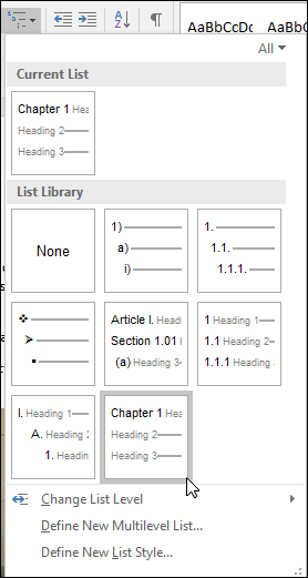Use the Chapter Headings mutlilevel list to format chapter headings to be included in captions.