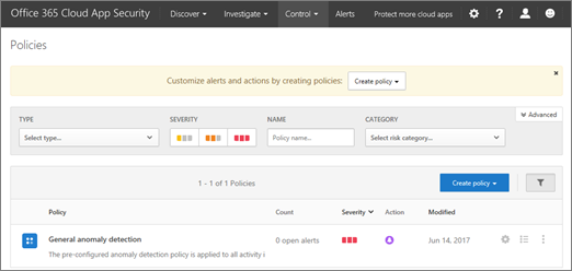 When you go to the Office 365 Cloud App Security portal, you start with the Policies page