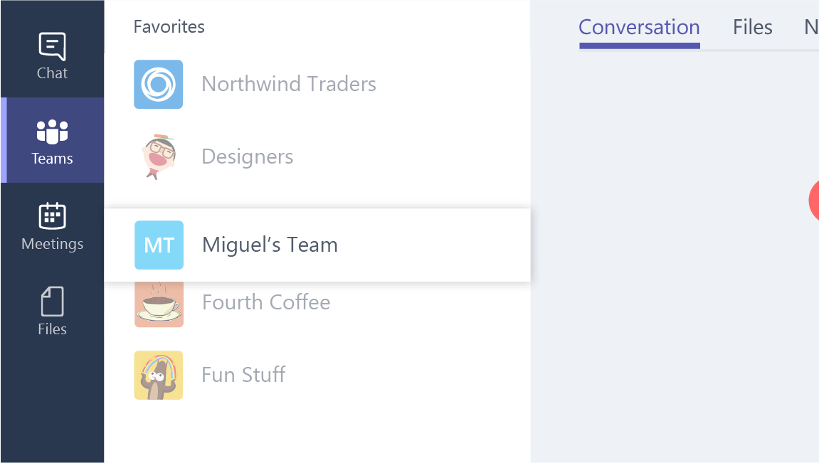 This screenshot shows how to  reorder a team is the list of teams.