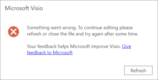 Screenshot of a Something went wrong error while editing a file in Visio