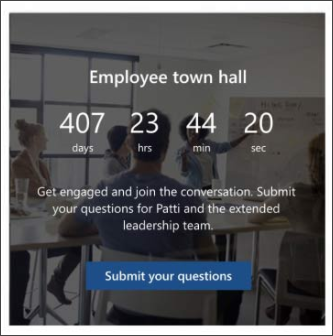 Image of the countdown web part on the leadership site template