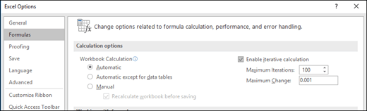 Screen shot of the Iterative Calculation settings