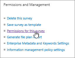 Permissions and management with Survey permissions highlighted