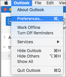 Outlook menu with Preferences highlighted
