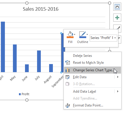 Right-click on chart to see formatting options