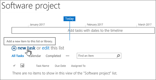 Task timeline, click New + to add tasks