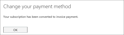 Screen shot of the confirmation notice that displays after your subscription is converted to invoice payment.