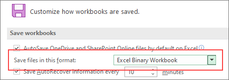 Save in binary format