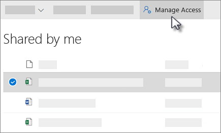 Screenshot of the Manage Access button in the Shared by me view in OneDrive for Business