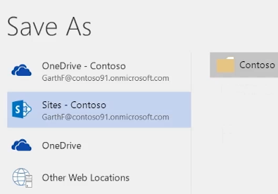 Saving a OneDrive for Business document to a team site library