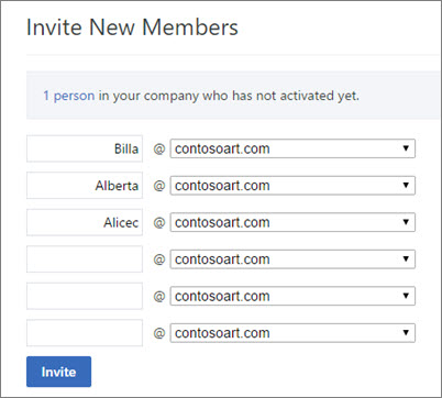 The primary domain shows when you invite users to your Yammer group