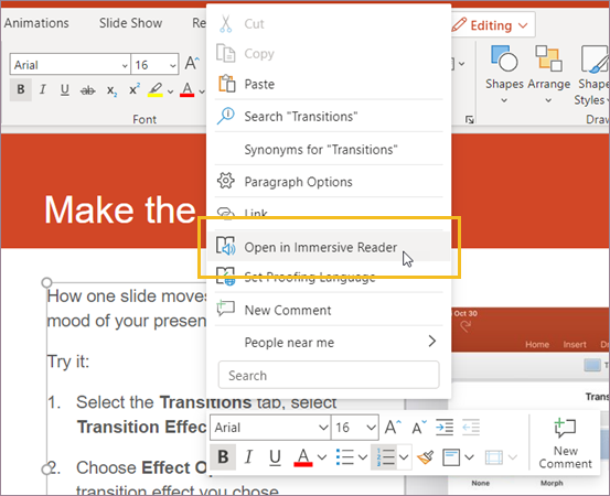 Select Open Immersive Reader.
