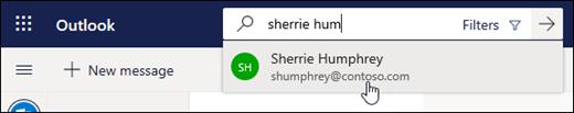A screenshot of the search bar