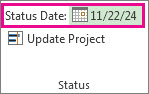 Set the status date for a project image