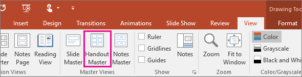 Shows View Handout master in PowerPoint
