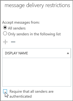 Check box to turn off authenticated senders