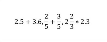Example equations read: 2.5+3.6, 2/5 +3/5, 2&2/3*2.3
