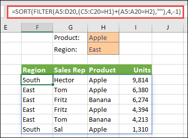 FILTER and SORT together - Filter by Product (Apple) OR by Region (East)