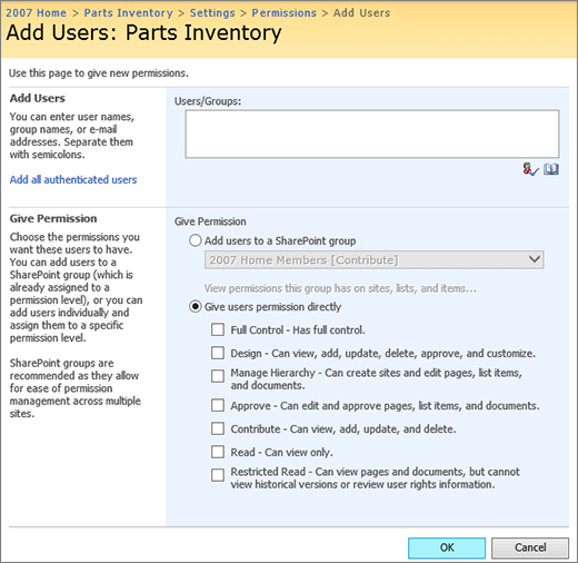 Customize permissions for a SharePoint list or library - SharePoint