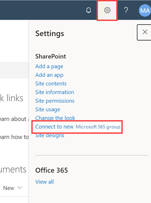Connect to Microsoft 365 group