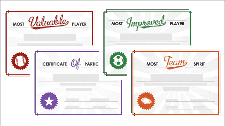 Team sports award certificate templates