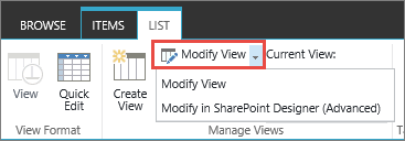 Modify view button with dropdown opened
