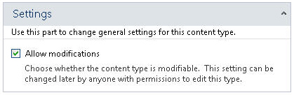 Read-only settings for content type