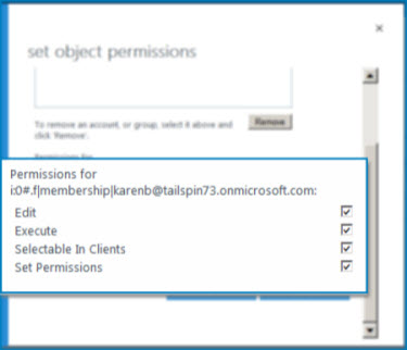 Screenshot of the SetObject Permissions dialog box in SharePoint Online. Use this dialog to set permissions for a specified External Content Type.