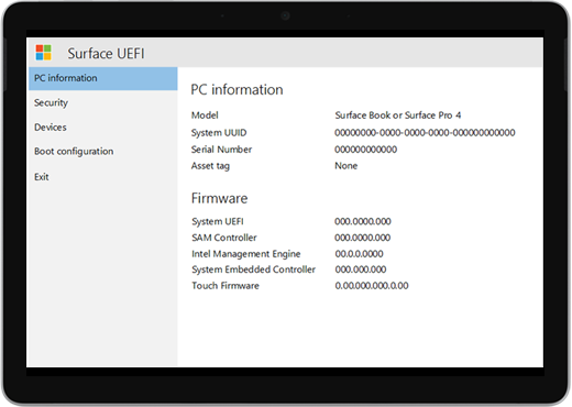 "A white screen with the title ""Surface UEFI"" and details about PC information and firmware."
