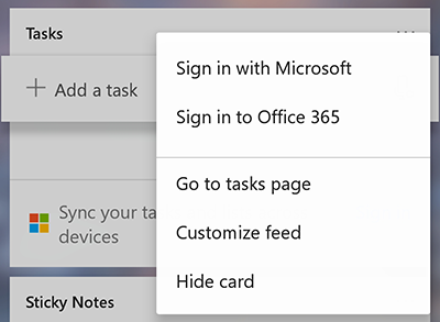 Screenshot showing the option to Sign in with Microsoft or Office 365 in the more Tasks card more menu