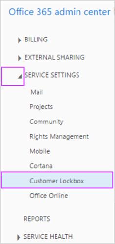 Service Settings Customer Lockbox in the admin center