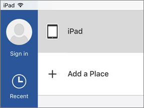 Screenshot of where to add a source place in Visio on iPad