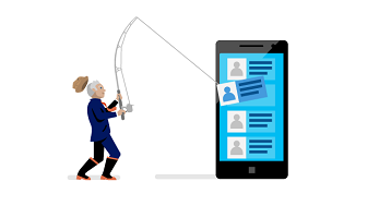 Conceptual: A person with a fishing pole pulling data out of a smartphone.