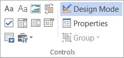 Controls on the Developer tab