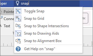 "Tell Me box, ""snap"" typed, Snap options displayed"