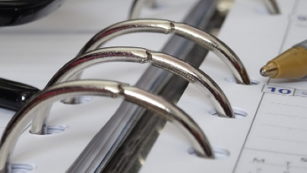 Close-up photo of a three-ring binder