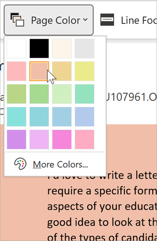 screenshot of the page color dropdown menu for immersive reader. A color palette is shown and the background visible behind the dropdown is pastel orange