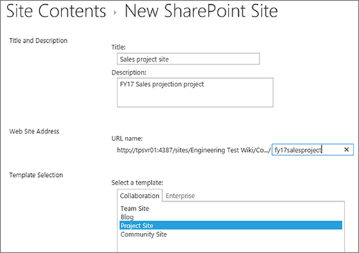 SharePoint 2016 Subsite creation screen