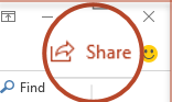 The Share button in PowerPoint 2016