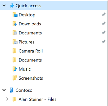 Another user's OneDrive in the left pane in File Explorer