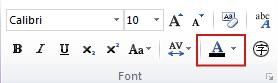 Text color button in Publisher 2010