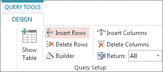 Insert Rows button on the Query Tools Design tab
