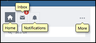 Yammer banner showing labels that appear with Dragon command