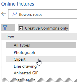 Select the Filter button and then choose Clipart