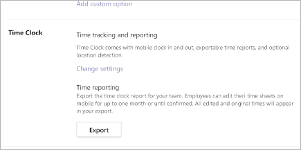 Exporting a Time Clock report in Microsoft Teams Shifts