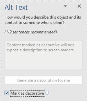 Alt Text pane with the Mark as Decorative option selected in Word for Windows.