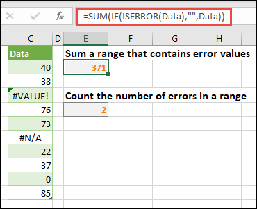 "Use arrays to deal with errors. For example, =SUM(IF(ISERROR(Data),"""",Data) will sum the range named Data even if it includes errors, like #VALUE! or #NA!."