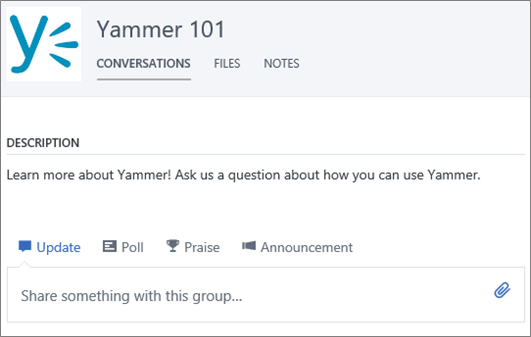 An example Yammer 101 group