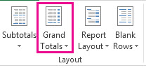 Grand Totals button on the Design tab